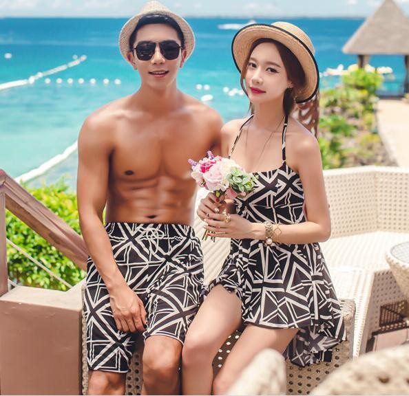 水着 体型カバー ワンピース ペアルック カップル水着 お揃い レディース体型カバー メンズ セット メンズ水着 男性用 ビーチパンツ サーフパンツ みずぎ