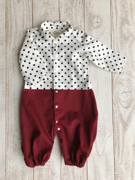 ◆おなまえ刺繍無料◆まるでパパ♪はじめてのお出かけロンパース×ドット