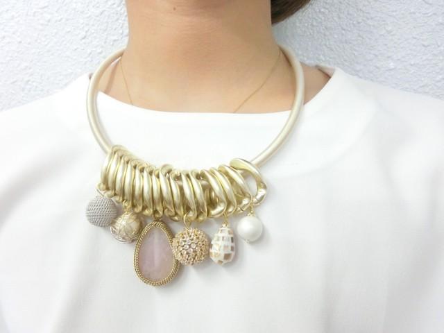 【 Korea 】Stone cherm necklace / Gold
