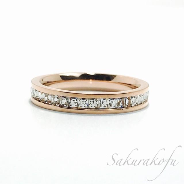 D007 送料無料 レディース 指輪 アクセサリー Rosegold  Eternity Ring