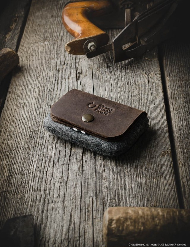 51 Leather Business and Credit Card Holder Wood Blown