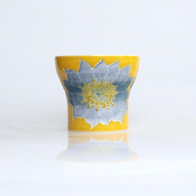 波佐見焼 二重構造 フリーカップ 花柄 黄