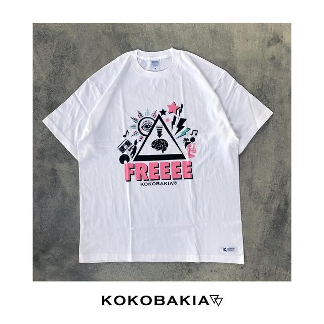 半袖Tシャツ FREEEE【フリー】 ホワイト メンズ レディース かわいい イラスト ロゴ デザイン #ロックファッション #ストリートファッション