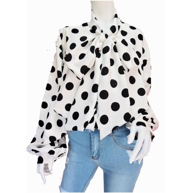 Polka-dot bou-tie blouse