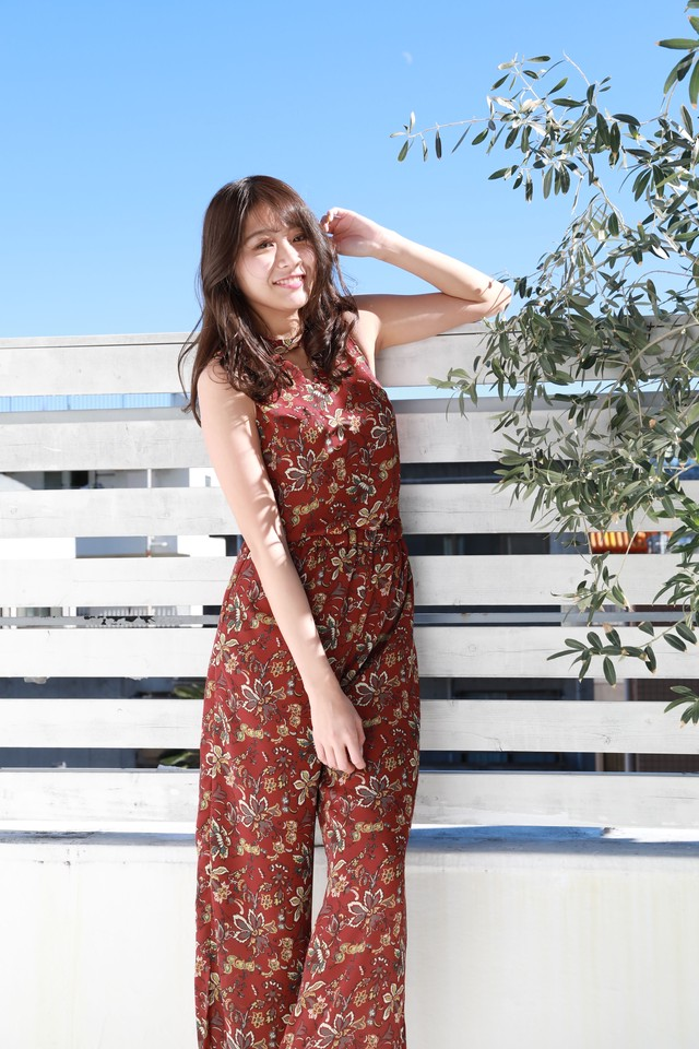 botanical resort rompers RED