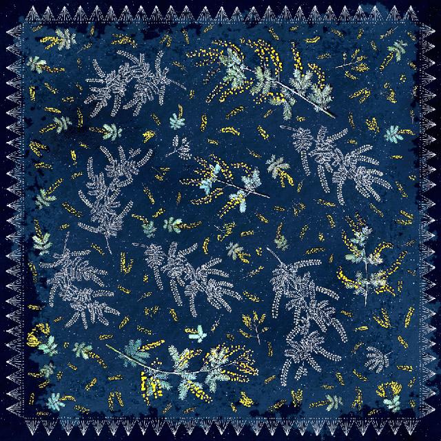 シルクスカーフ[ミモザの星降る夜に]ネイビー
