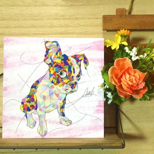 絵画 インテリア アートパネル 雑貨 壁掛け 置物 おしゃれ 犬 ボストンテリア 動物 現代アート ロココロ 画家 : nob 作品 : BT
