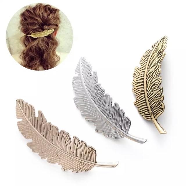 バレッタ ヘアクリップ アクセサリー 装飾用 髪留め ゴールド シルバー アンティーク ヴィンテージ風 羽 羽根 ビッグ フェザー 結婚式 送料無料