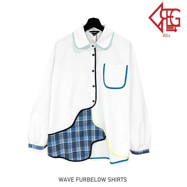 【REGIT】【即納】WAVE FURBELOW SHIRTS 韓国ファッション ユニーク 個性的 シャツ ユニークなシャツ 白シャツ チェックポイントシャツ  おしゃれ