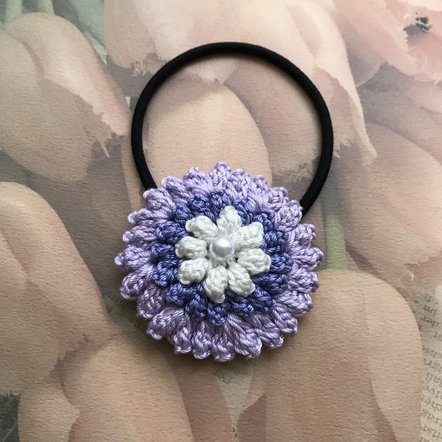 ハンドメイド♪レース編み ダリア風お花のヘアゴム(薄紫×濃紫)