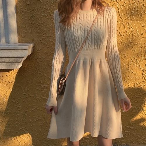 ワンピース ニットケーブル編み シンプル ウエストマーク デート オルチャンファッション 韓国ファッション