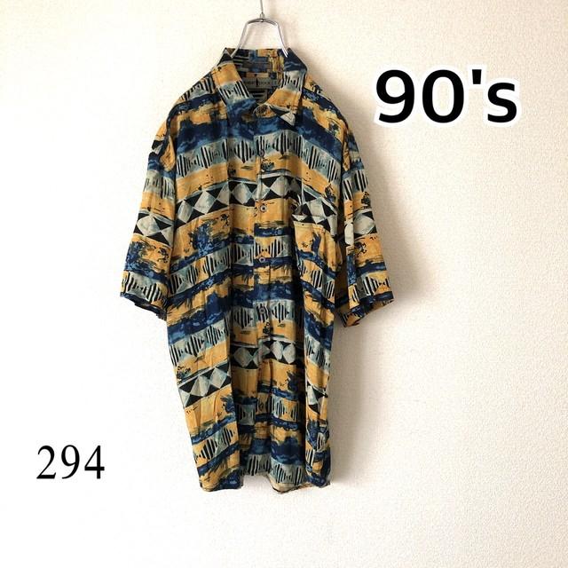 90's ヴィンテージ 総柄 レトロ 柄シャツ アロハシャツ