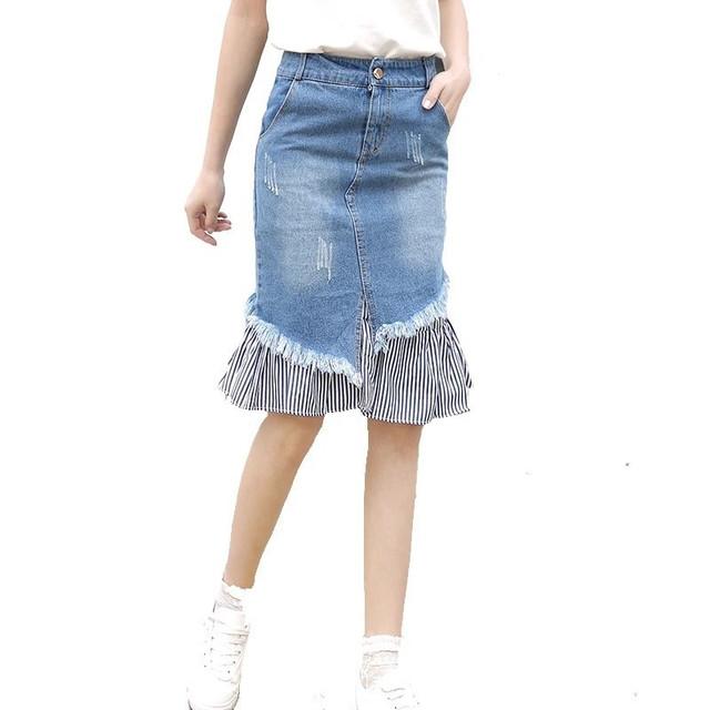 ダメージデニムスカート USED加工・不規則裾・膝丈のデニムスカート