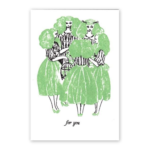 手刷りポストカード 女達と鳥籠