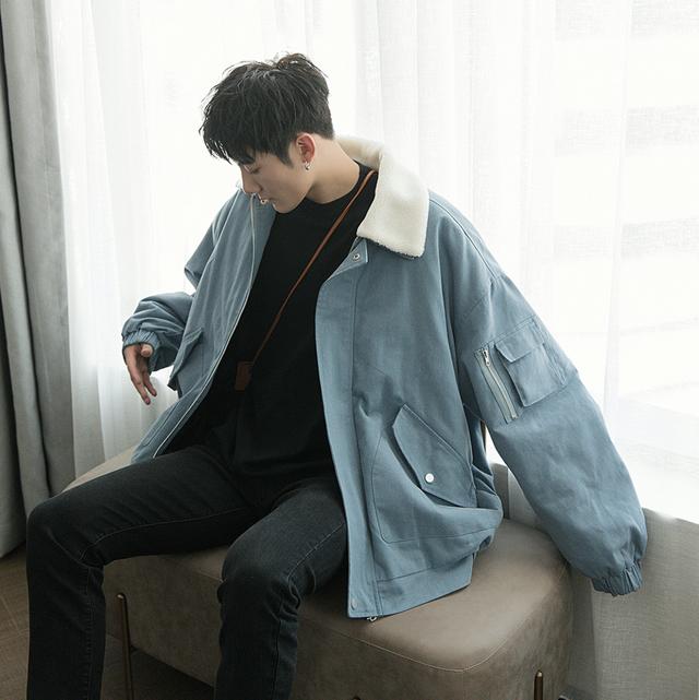ボアジャケット 韓国系 デニム調 ブルー