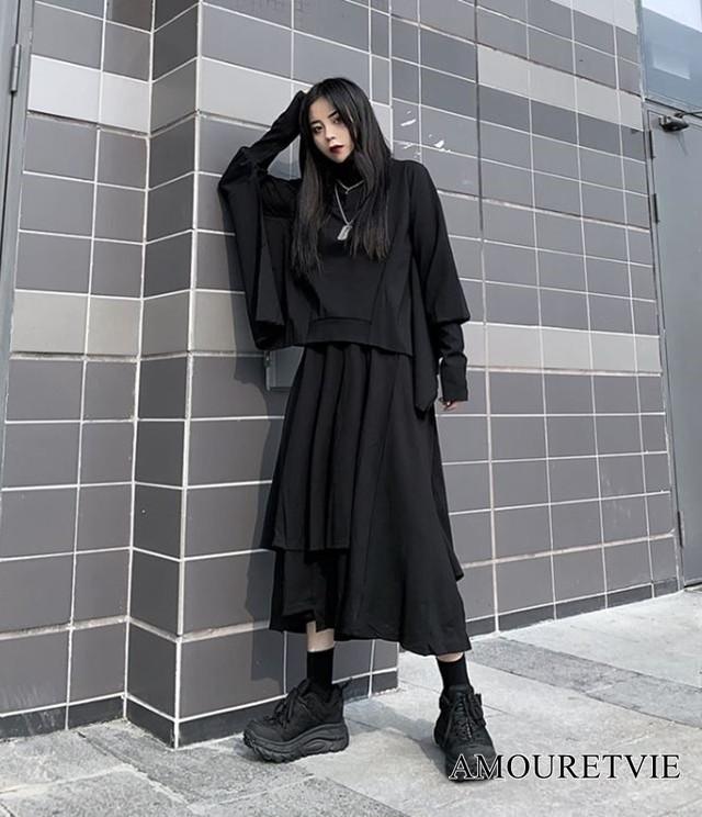 上下セット トップス スカート 黒 ブラック アシンメトリー ピープス オルチャン 韓国ファッション 925