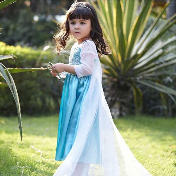 なりきりプリンセス 長袖ブルードレス キッズ用 レットイットゴー  let it go エルサ ドレス 子ども用
