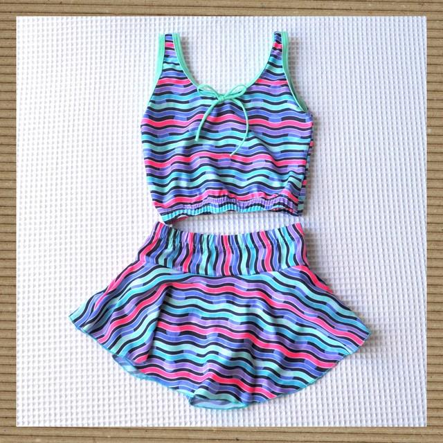 【限定価格】セパレート型ガールズ水着/水玉マルチボーダー(対象年齢:5~6歳)