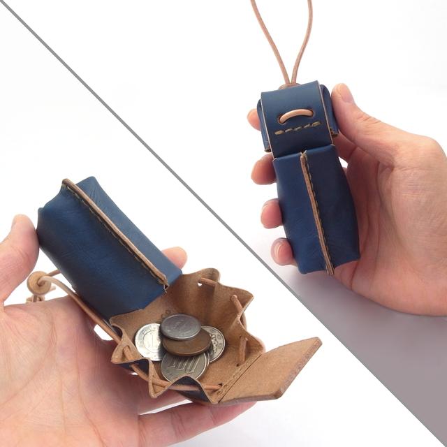 藍染め革のコインケース&小物入れ【ham/はむ】 #草木染めレザー #手縫い #価格見直しました