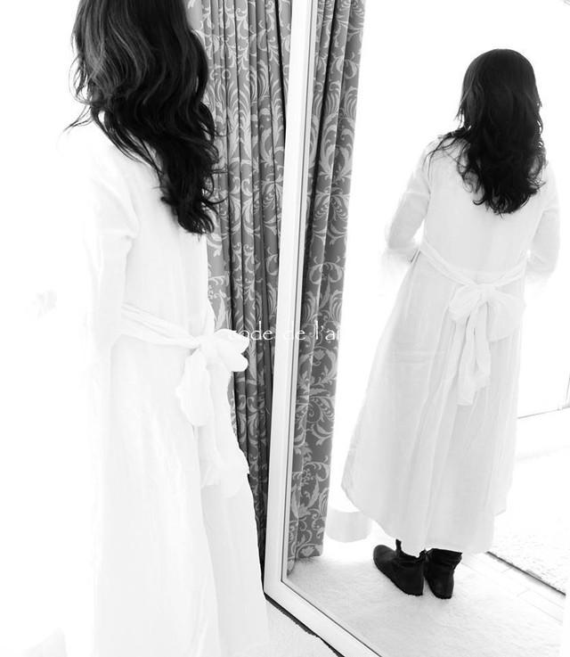 裾のラインが美しいリネン100%ワンピース(リボン)