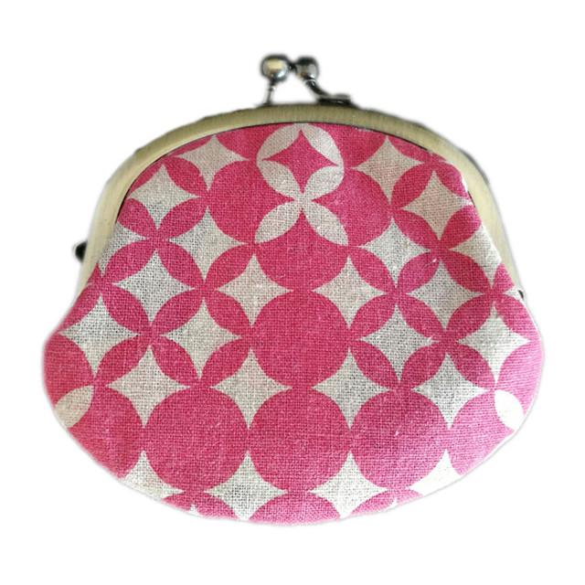 アタラシキイニシエ風呂敷で作った和雑貨 ミニガマグチ 桃色