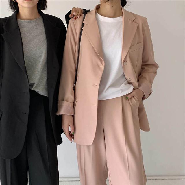 【送料無料】 パンツ スーツ 2点セット オーバーサイズ テーラード ジャケット くすみカラー カジュアル 大人かわいい セットアップ