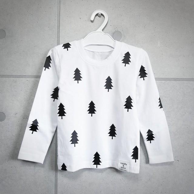 キッズ 子供服 vanilla&spice ツリー 木 柄 パターン プリント 長袖Tシャツ ロンT ホワイト