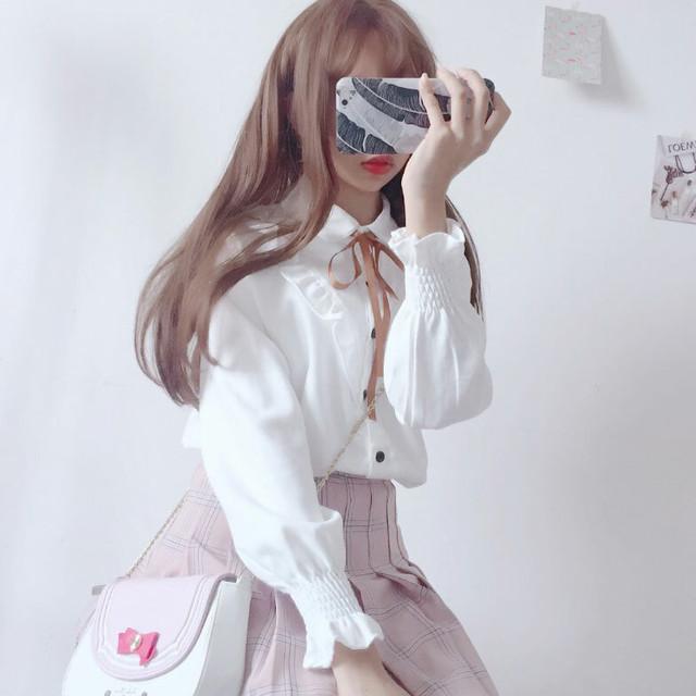 【トップス】シンプル日系春夏秋POLOネックシングルブレスト長袖シャツ