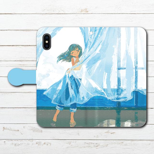 #052-007 手帳型iPhoneケース  手帳型スマホケース 全機種対応 《海風ドレス》 作:もなか iPhoneX 可愛い 綺麗系 おしゃれ かわいい iPhone5/6/6s/7/8 Xperia ARROWS AQUOS Galaxy HUAWEI Zenfone
