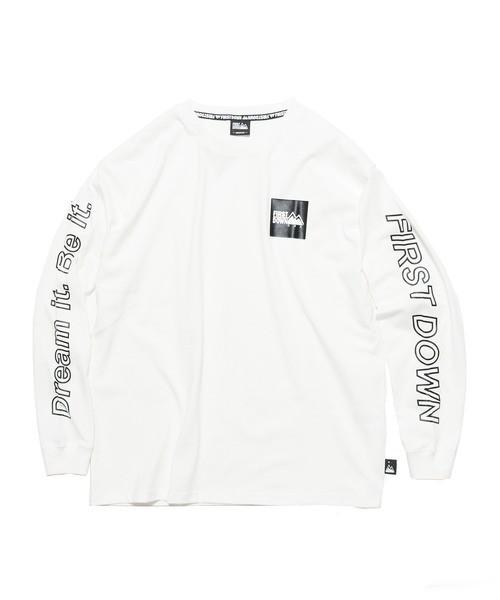 FIRST DOWN (ファーストダウン) L/S TEE 袖プリント スクエアロゴ 長袖Tシャツ/ロンT ホワイト F872502
