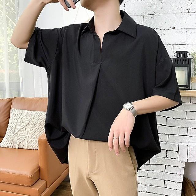 韓国ファッション メンズ半袖 フレンチシャツ