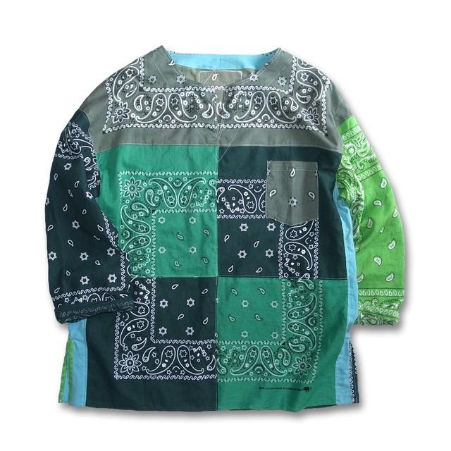Remake Bandana Key Neck Shirts -Green Mix