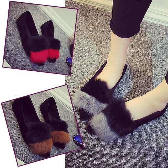 【Hyun Funi】ラビットファーファー付きパンプスフラットパンプスポインテッドトゥパンプス / Pumps with rabbit fur fur Pumps Pointed Toe Pumps (DCT-540080967392_e)