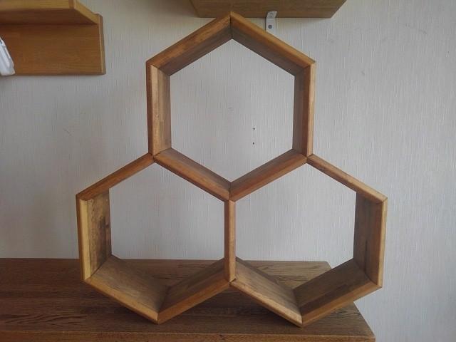 【6角形 壁掛けシェルフ】  ※展示使用品