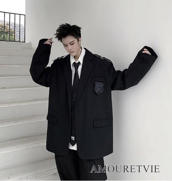 メンズ ジャケット カジュアル ストリート 学生風 原宿風 黒 ブラック オルチャン 韓国ファッション 1209