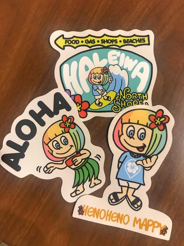 【耐久性・耐水性ステッカー】Official LOGO・ALOHA・HALEIWA 3枚セット
