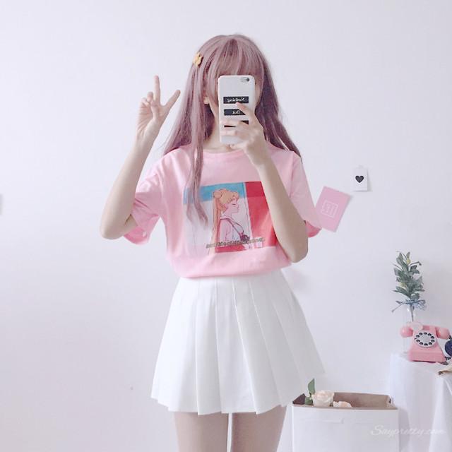 【トップス】スウィート韓国系春夏カートゥーンプリントラウンドネック半袖Tシャツ