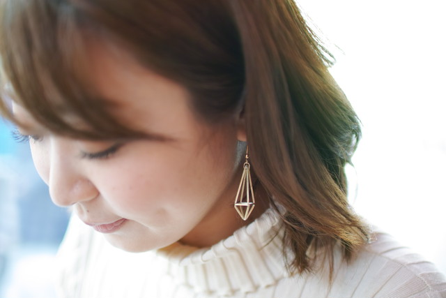 Himmeli Octahedron Crystal - Pierce/ Earring (Gold color) クリスタルのピアス/イヤリング