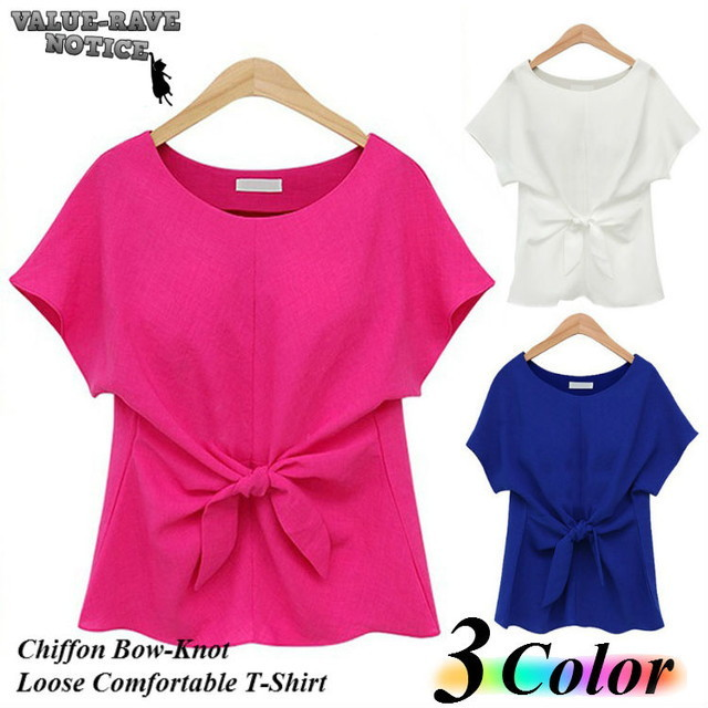 Summer Elegant Female Chiffon Bow-Knot Loose Comfortable T-Shirt / 夏エレガントな女性シフォンボウノットルーズ快適なTシャツ (SKU: 18WT060)