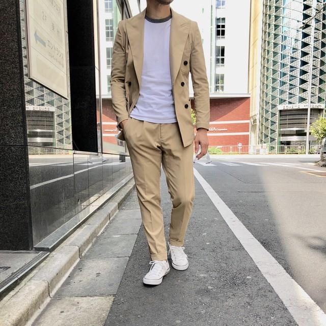 スーツを着ない人のスーツ ベージュツイルアンコン6釦ダブルセットアップスーツ 2193-AJ15J-2804