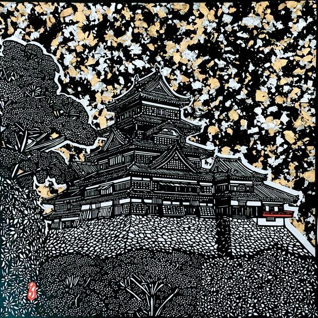 【切り絵】国宝松本城と山に咲く繊細なお花〜額付き〜