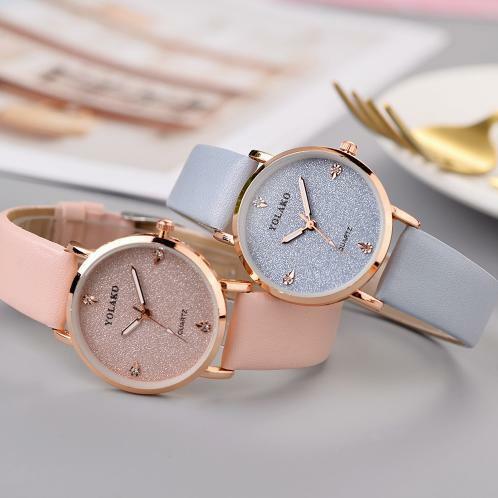 春色カラー ♬ 17種類 レディース 腕時計 星空 ラメ エレガント ステンレススチール クォーツ腕時計 革ストラップ ブレスレットウォッチ 淡色 春色 Lynn-66