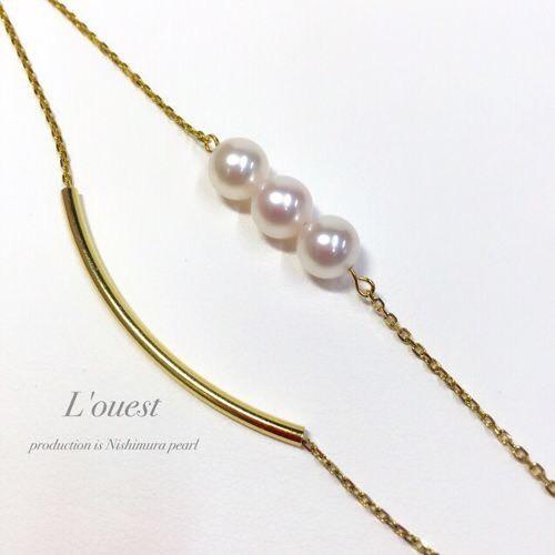 pearl × gold pipe -bracelet-