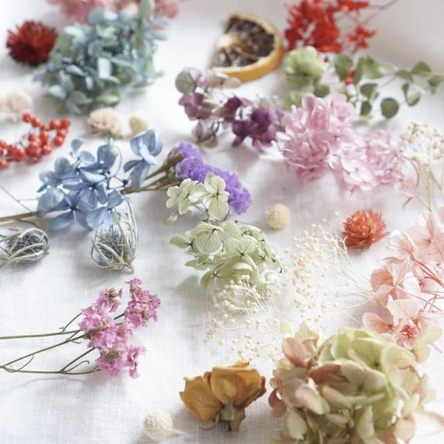 おまかせ花材セット❁シックカラーver. ハーバリウムキット ワックスバー キャンドル 花材詰め合わせ