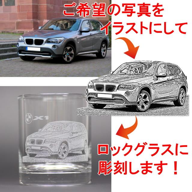 オーダーメイドデザイン ロックグラス 好きな写真をイラストにしてグラスに彫刻 底面オリジナルメッセージ&名入れ付き 日本製 箱付き プレゼントにもおすすめ
