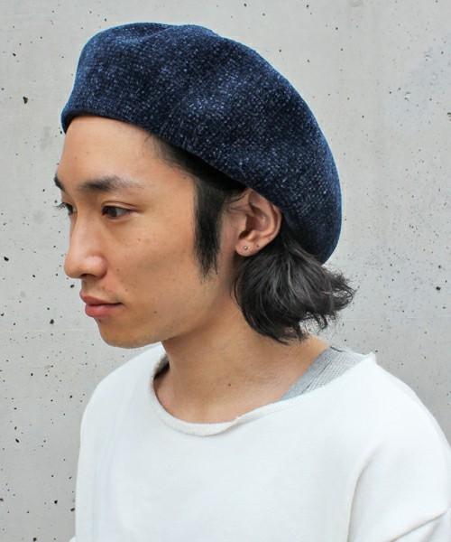 ベロア ベレー帽 -NAVY-