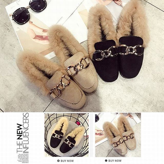 【FURREZIO】ラビットファー付きビットバブーシュ ローファー / Semi-slippers popular women's shoes metal buckle lazy rabbit hair low heels (DCT-574928560880_d)
