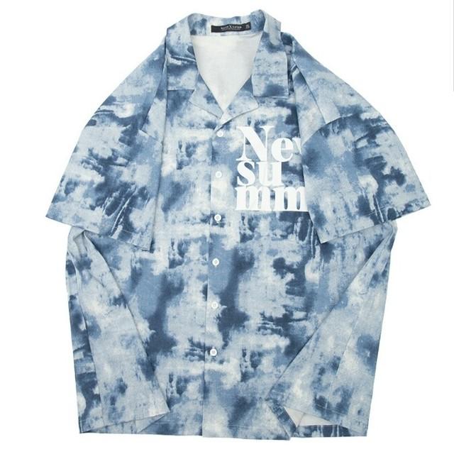 送料無料メンズ大きいサイズタイダイ柄染めロゴ半袖開襟シャツ