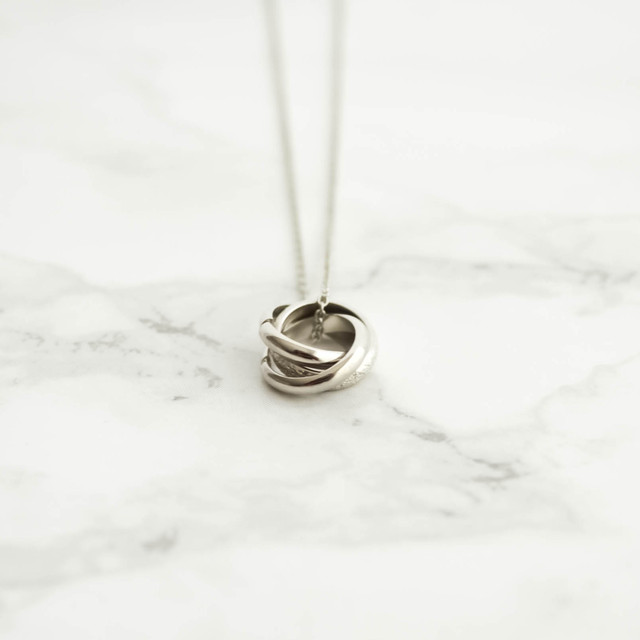 Triple Ring Necklace silver,gold