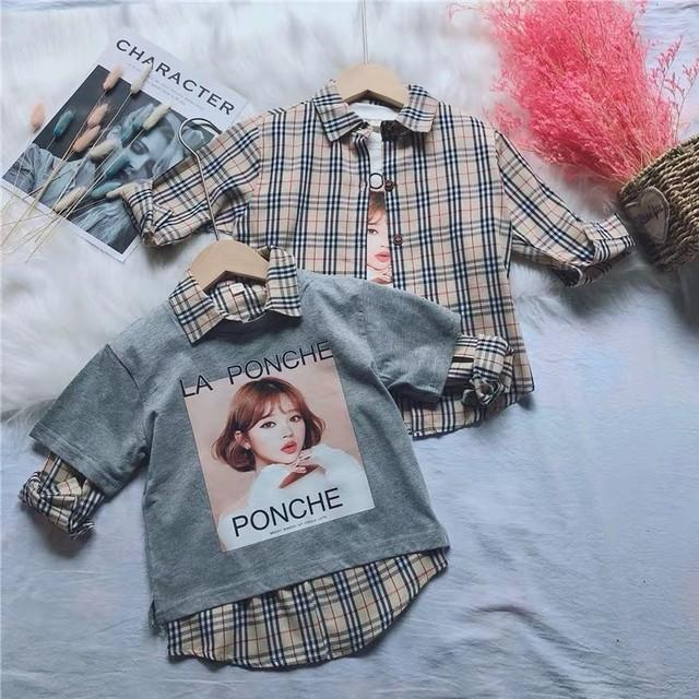 子供チェック柄の半袖Tシャツセット(348)